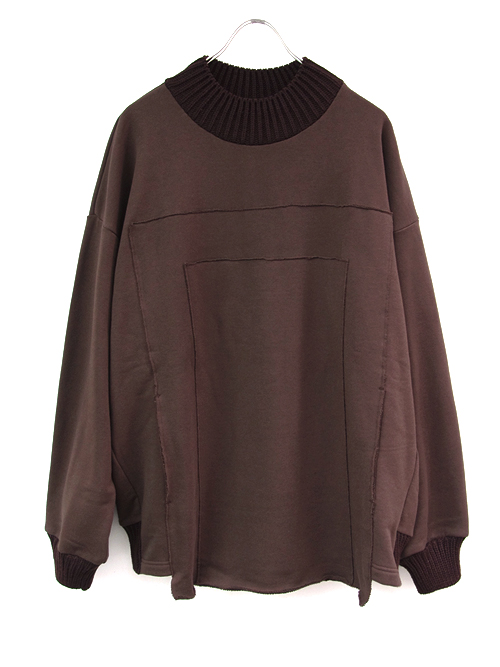 "【18AW】 my beautiful landlet (マイビューティフルランドレット)  ""fleecy switching sweat"" <スウェット> - CHOCOLATE"