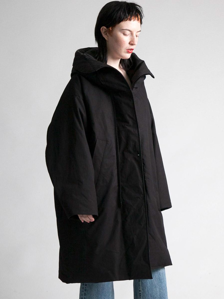 """【19AW】 my beautiful landlet (マイビューティフルランドレット)  """"horse cloth down hooded coat"""" <ダウンコート> - BLACK"""