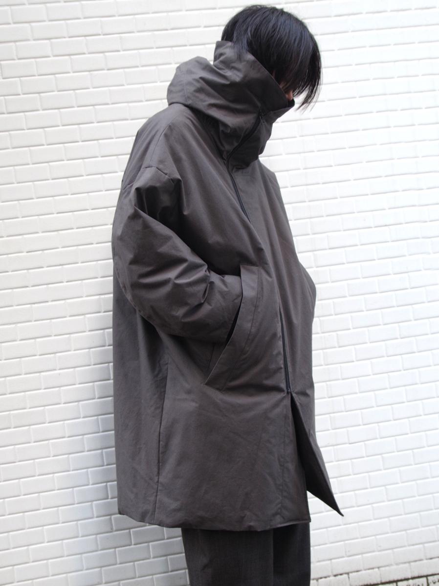 "【19AW】 my beautiful landlet (マイビューティフルランドレット)  ""horse cloth down hooded coat"" <ダウンコート> - CHARCOAL"