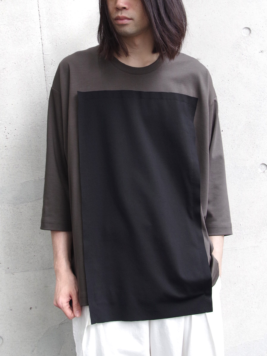"【19AW】 my beautiful landlet (マイビューティフルランドレット)  ""3/4 sleeve panel cutsew"" <カットソー> - GRAY"