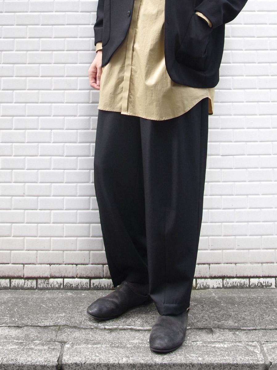 """【19AW】 my beautiful landlet (マイビューティフルランドレット)  """"WIDE SLACKS"""" <スラックス> - BLACK"""