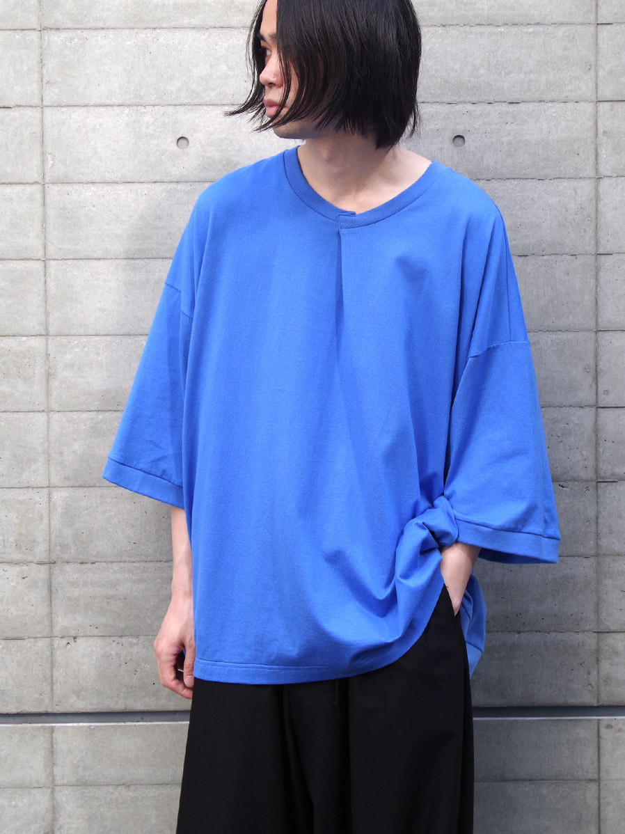 "【20AW】 my beautiful landlet (マイビューティフルランドレット)  ""cotton BIG T-shirt"" <カットソー> - BLUE"