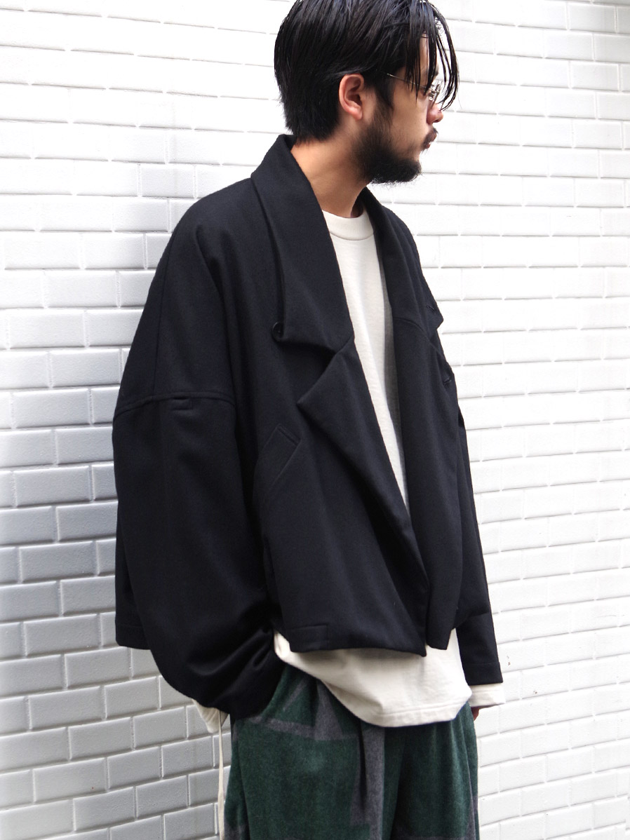 "【20AW】 my beautiful landlet (マイビューティフルランドレット)  ""FLANNEL WOOL WIDE JACKET"" <ジャケット> - BLACK"