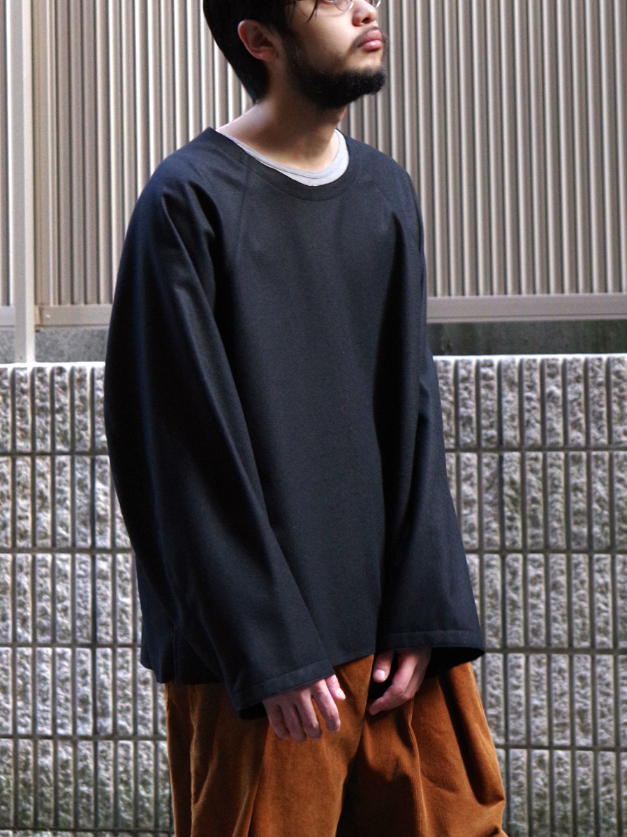 "【20AW】 my beautiful landlet (マイビューティフルランドレット)  ""FLANNEL WOOL PULLOVER"" <プルオーバー> - BLACK"