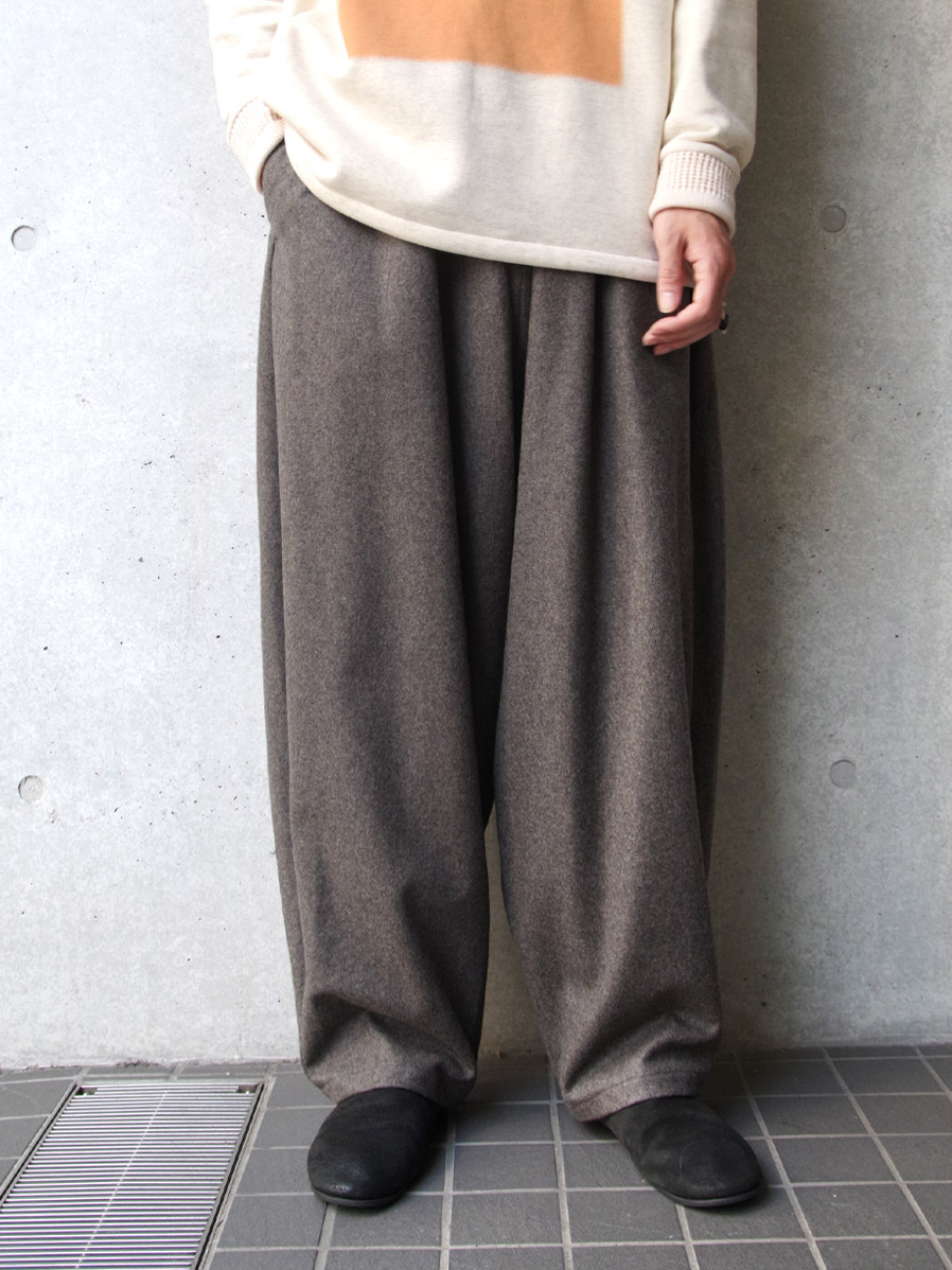 "【20AW】 my beautiful landlet (マイビューティフルランドレット)  ""FLANNEL WOOL WIDE EASY PANTS"" <パンツ> - GRAY"