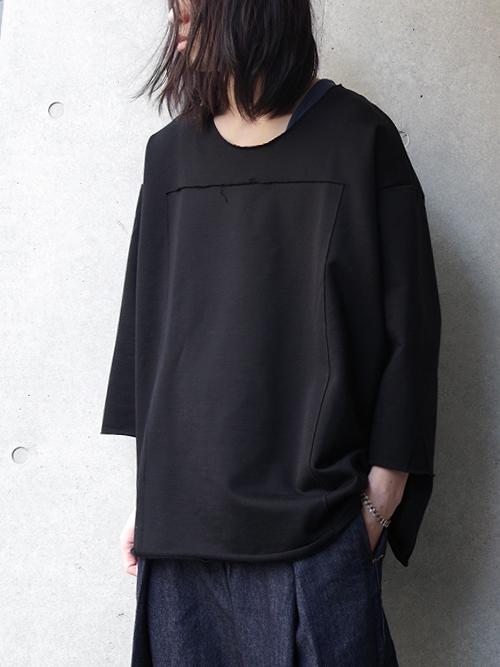 """【19SS】 my beautiful landlet (マイビューティフルランドレット) """"supima cotton 3/4 sweat"""" <スウェット/カットソー> - BLACK"""