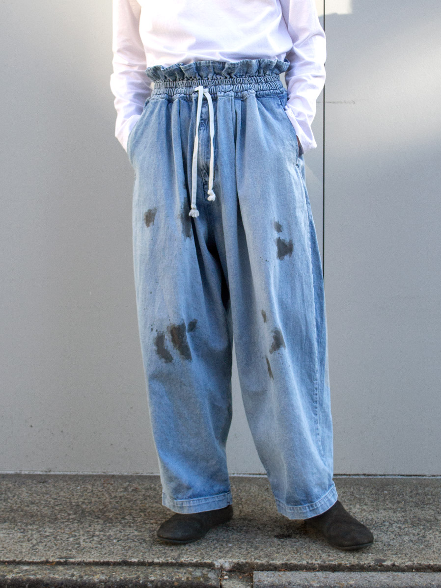 "【21SS】 my beautiful landlet (マイビューティフルランドレット)  ""8oz DENIM WIDE EASY PANTS"" <デニムイージーパンツ> - BLUE"