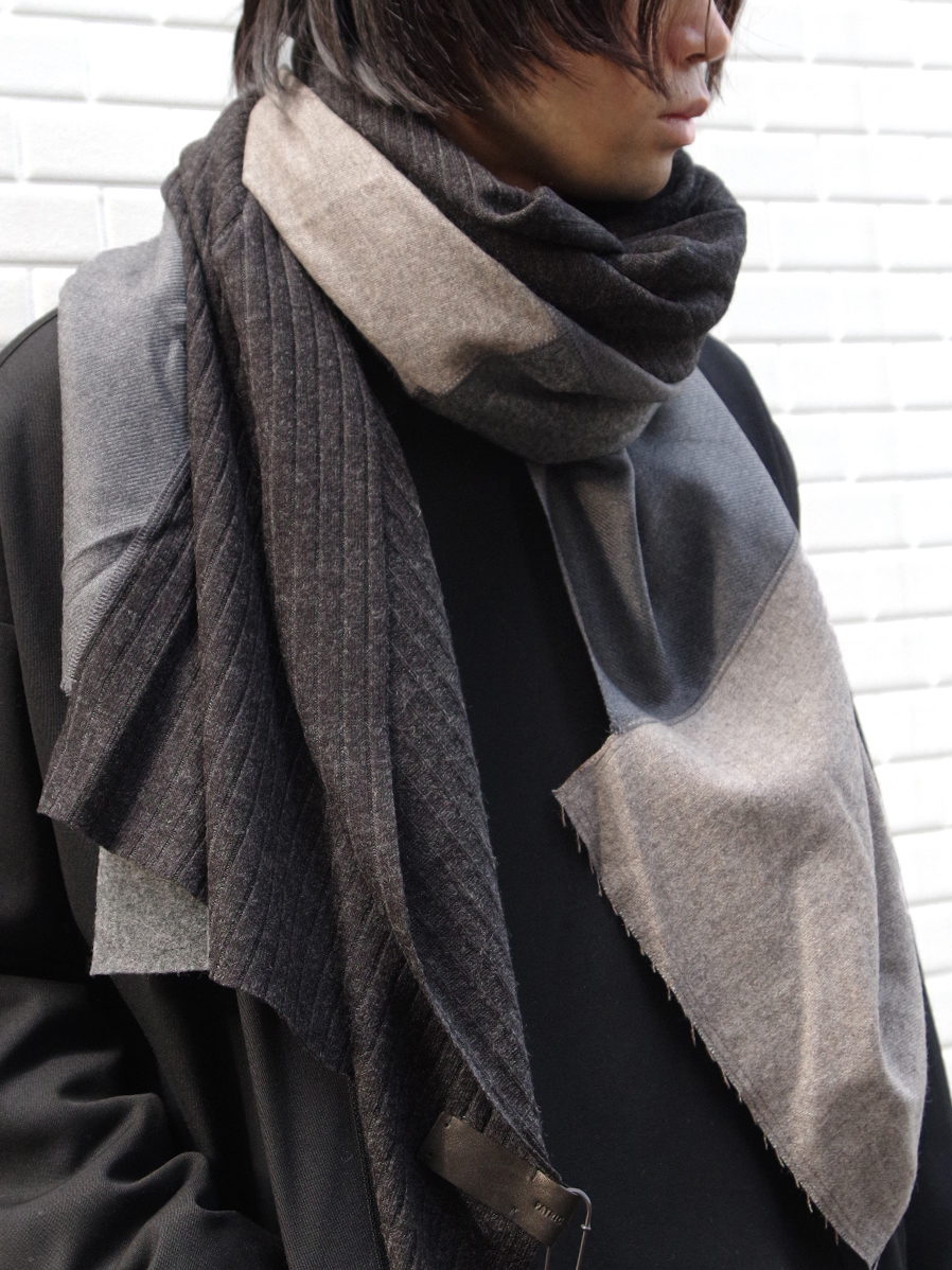 "【19AW】 PATRICK STEPHAN (パトリックステファン) ""Jersey scarf 'wrap'""  #192ASF03  <ストール/マフラー> - GRAY MIX"