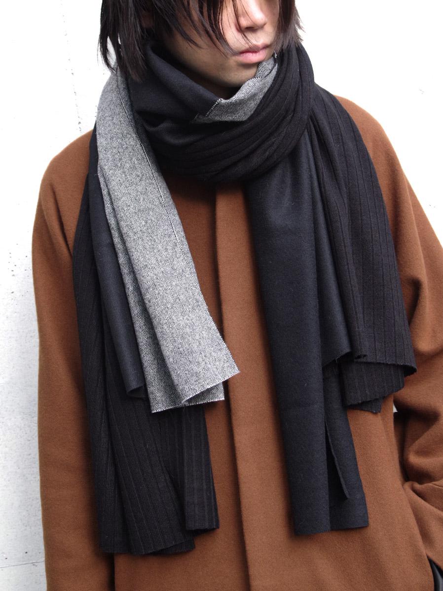 "【19AW】 PATRICK STEPHAN (パトリックステファン) ""Jersey scarf 'wrap'""  #192ASF03  <ストール/マフラー> - BLACK MIX"