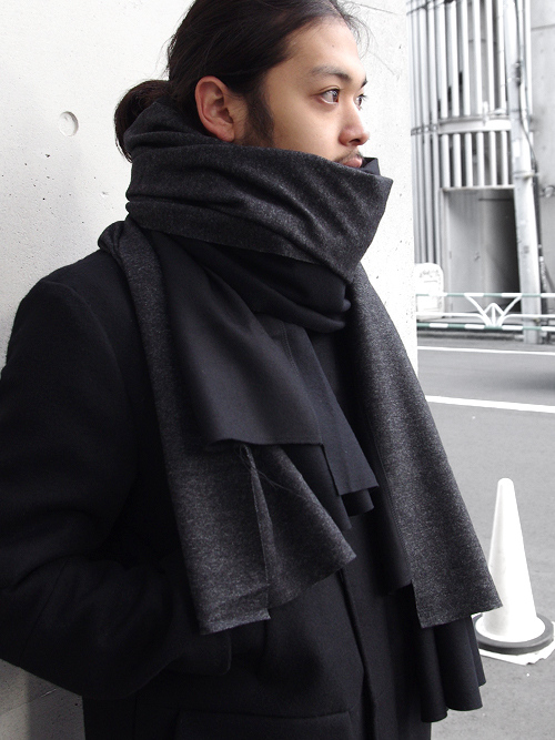 "PATRICK STEPHAN (パトリックステファン) ""Jersey scarf 'wrap'""  #182ASF21  <ストール/マフラー> - BLACK MIX"
