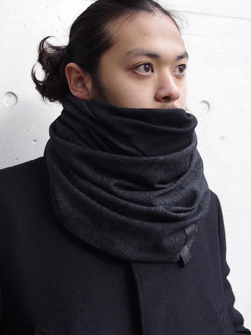 """PATRICK STEPHAN (パトリックステファン) """"Jersey scarf 'fuji'"""" #182ASF19  <ネックウォーマー/スヌード> - BLACK MIX"""