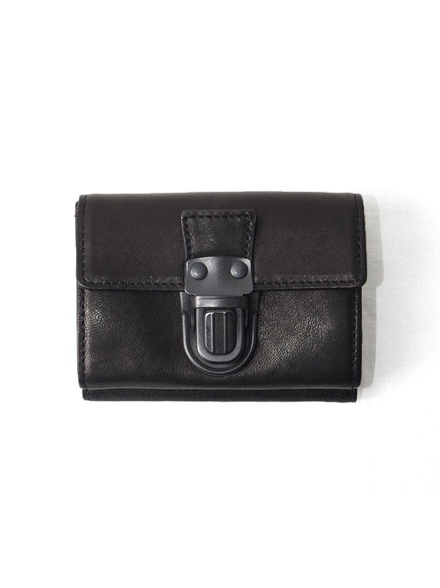 "PATRICK STEPHAN (パトリックステファン) ""Leather trifold wallet"" 'cartable' #174AWA10 <3つ折り財布> - BLACK/BLACK"