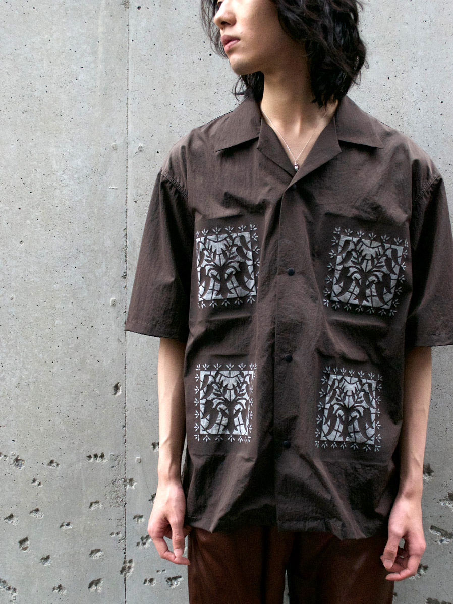 "【2021SS】 Sasquatchfabrix. (サスクワァッチファブリックス) """"KIRIGAMI"" H/S SHIRT"" <シャツ> - DARK BROWN"