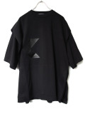 "【19AW】 ALMOSTBLACK (オールモストブラック) ""PYRAMID S/S LAYERED CUTSEW"" <レイヤードカットソー> - BLACK"