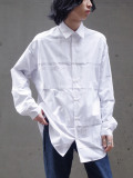 "【SALE:20AW】 ALMOSTBLACK (オールモストブラック) ""DOUBLE CLOTH WIDE SHIRT"" <シャツ> - WHITE"