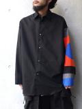 "【19SS】 ALMOSTBLACK (オールモストブラック) ""MULTI PATTERN SHIRT"" <袖切り替えシャツ> - BLACK"