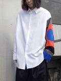 "【19SS】 ALMOSTBLACK (オールモストブラック) ""MULTI PATTERN SHIRT"" <袖切り替えシャツ> - WHITE"
