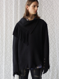 "【18AW】 BED J.W. FORD (ベッドフォード) ""Fringe neck"" <フリンジタートルネックニット> - BLACK"