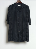 "【2020SS】 BED J.W. FORD (ベッドフォード) ""Stripe Half Sleeve Shirt"" <シャツ> - BLACK"