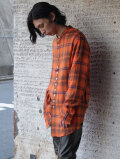 "【2021SS】 BED J.W. FORD (ベッドフォード) ""STAND COLLAR CHECK BLOUSE"" <シャツ> - ORANGE"