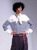 """【2021SS】 BED J.W. FORD (ベッドフォード) """"DAMEGE BORDER KNIT"""" <シャツ> - WHITE x BLUE"""