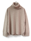 "<17AW> Edwina Horl  (エドウィナホール) // ""TURTLE NECK KNIT"" <タートルネックニット> - GRAY BEIGE"