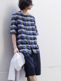 "<17SS> Edwina Horl  (エドウィナホール) // ""S/S NO COLLAR SHIRT"" <ノーカラーシャツ> - BLUE CHECK"