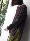 """<18SS> Edwina Horl  (エドウィナホール) // """"袖切り替えカットソー DARK BROWN"""" <カットソー>"""