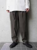 "<19AW> Edwina Horl  (エドウィナホール) // ""WIDE PANTS"" <ワイドパンツ> - 喪(DARK KHAKI)"