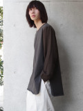 """<19SS> Edwina Horl  (エドウィナホール) // """"袖切り替えカットソー"""" - BROWN"""