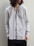 "<18SS>FFIXXED STUDIOS  (フィックス) // ""SCARF SHIRT"" <シャツ> - GRAY STRIPE"