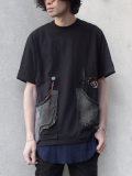 "GILET (ジレ) ""REMAKE POCKET TEE""  - BLACK <リメイクTシャツ/カットソー>"
