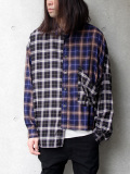 "【19AW】 JieDa(ジエダ)  ""ASYMMETRY L/S SHIRT"" <シャツ> - PURPLE × NAVY"