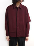 "【20AW】JieDa(ジエダ)  ""GABARDINE FLAP SHIRT"" <シャツ> - BURGUNDY"