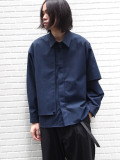 "【20AW】JieDa(ジエダ)  ""GABARDINE FLAP SHIRT"" <シャツ> - BLUE"