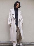 """【21SS】 my beautiful landlet (マイビューティフルランドレット)  """"COTTON LYOCEL&LINEN CANVAS LONG COAT"""" <コート> - BEIGE"""