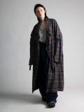 """【19AW】 my beautiful landlet (マイビューティフルランドレット)  """"brushed tartan wide long coat"""" <ワイドロングコート> - BROWN"""