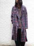 """【19AW】 my beautiful landlet (マイビューティフルランドレット)  """"brushed tartan wide long coat"""" <ワイドロングコート> - NAVY"""