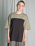 "【18AW】 my beautiful landlet (マイビューティフルランドレット)  ""cotton block tee"" <カットソー> - GREEN×CHARCOAL GRAY"