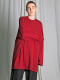 "【18AW】 my beautiful landlet (マイビューティフルランドレット)  ""mini fleecy BIG L/S tee"" <スウェット/カットソー> - RED"