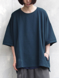 "【18AW】 my beautiful landlet (マイビューティフルランドレット)  ""mini fleecy BIG T-shirt"" <スウェット/Tシャツ/カットソー> - D.GREEN"