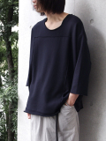 "【18AW】 my beautiful landlet (マイビューティフルランドレット)  ""fleecy knitting 3/4 sweat"" <スウェット/カットソー> - NAVY"
