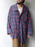 "【19AW】 my beautiful landlet (マイビューティフルランドレット)  ""CHECK SHIRT BLOUSON"" <チェックシャツブルゾン> - NAVY"