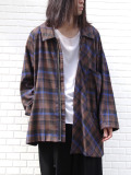 "【19AW】 my beautiful landlet (マイビューティフルランドレット)  ""CHECK SHIRT BLOUSON"" <チェックシャツブルゾン> - BROWN"