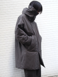 "【19AW】 my beautiful landlet (マイビューティフルランドレット)  ""horse cloth down hooded coat"" <ダウンコート> - CHARCOAL"