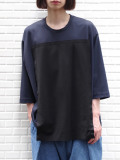 "【19AW】 my beautiful landlet (マイビューティフルランドレット)  ""3/4 sleeve panel cutsew"" <カットソー> - NAVY"
