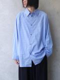"【20AW】 my beautiful landlet (マイビューティフルランドレット)  ""80/2 highcount typewriter L/S big shirt"" <ストライプシャツ>"