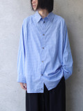 "【20AW】 my beautiful landlet (マイビューティフルランドレット)  ""80/2 highcount typewriter L/S big shirt"" <ストライプシャツ>"