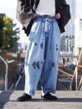 """【21SS】 my beautiful landlet (マイビューティフルランドレット)  """"8oz DENIM WIDE EASY PANTS"""" <デニムイージーパンツ> - BLUE"""