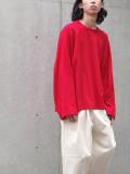 "【21SS】 my beautiful landlet (マイビューティフルランドレット)  ""BASIC CUT AND SEW RINGER L/S TEE"" <カットソー Tシャツ> - RED"
